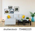 white scandinavian room... | Shutterstock . vector #754882225