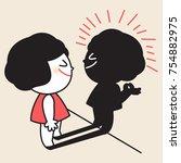 girl looking and trust in her...   Shutterstock .eps vector #754882975