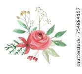 watercolor christmas bouquet...   Shutterstock . vector #754884157