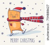merry christmas greeting card... | Shutterstock .eps vector #754888627