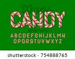 christmas candy cane alphabet ... | Shutterstock .eps vector #754888765