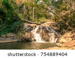 waterfall in forest in chiang... | Shutterstock . vector #754889404