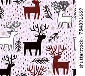 seamless pattern with deer and... | Shutterstock .eps vector #754891669