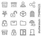 thin line icon set   shop ... | Shutterstock .eps vector #754896121