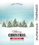 christmas landscape postcard ... | Shutterstock .eps vector #754896835