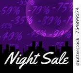 banner. night sale with percent ... | Shutterstock .eps vector #754899274