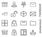 thin line icon set   shop ... | Shutterstock .eps vector #754900249