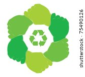 symbol recycle in hands teamwork | Shutterstock .eps vector #75490126