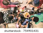 top view of multi racial... | Shutterstock . vector #754901431
