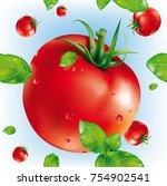 vector seamless tomatoes and... | Shutterstock .eps vector #754902541