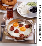 turkish breakfast with fried... | Shutterstock . vector #754903411