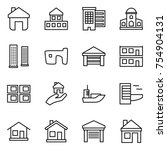 thin line icon set   home ... | Shutterstock .eps vector #754904131