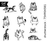 hand drawn vector set of funny... | Shutterstock .eps vector #754904581