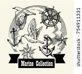 sea illustration made in retro... | Shutterstock .eps vector #754911331