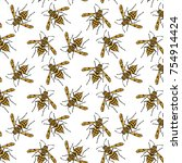 seamless pattern with bees on... | Shutterstock .eps vector #754914424