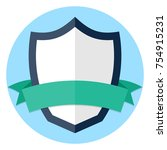 shield and ribbon flat icon   Shutterstock .eps vector #754915231