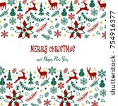 christmas card in retro style.... | Shutterstock . vector #754916377