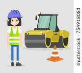 young female engineer wearing a ...