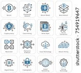 blockchain cryptocurrency icons.... | Shutterstock .eps vector #754919647