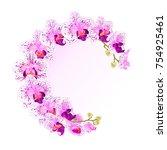 frame  orchid phalaenopsis... | Shutterstock .eps vector #754925461