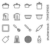 thin line icon set   pan  saute ... | Shutterstock .eps vector #754929505