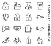 thin line icon set   unlock ... | Shutterstock .eps vector #754932931