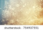 fireworks at new year and copy... | Shutterstock . vector #754937551