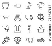 thin line icon set   delivery ...   Shutterstock .eps vector #754937887