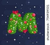 alphabet vector in christmas... | Shutterstock .eps vector #754939531