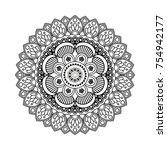 vector monochrome mandala for...   Shutterstock .eps vector #754942177