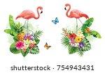 tropical summer arrangements... | Shutterstock .eps vector #754943431
