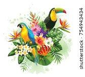 tropical summer arrangement... | Shutterstock .eps vector #754943434