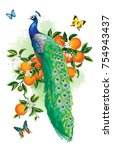 tropical summer arrangement... | Shutterstock .eps vector #754943437