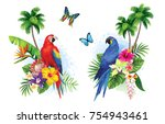 tropical summer arrangements... | Shutterstock .eps vector #754943461