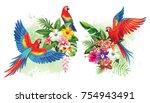 tropical summer arrangements... | Shutterstock .eps vector #754943491