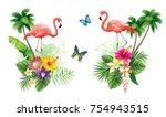 tropical summer arrangements... | Shutterstock .eps vector #754943515