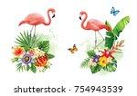 tropical summer arrangements... | Shutterstock .eps vector #754943539