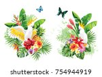 tropical summer arrangements... | Shutterstock .eps vector #754944919