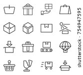 thin line icon set   basket ... | Shutterstock .eps vector #754947595