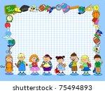 cute schoolboys and schoolgirls ... | Shutterstock .eps vector #75494893