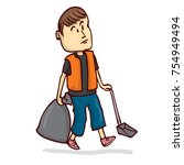 street janitor. hand drawn... | Shutterstock .eps vector #754949494