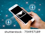 send email with mobile view of... | Shutterstock . vector #754957189