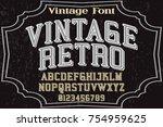 calligraphic font alphabet.... | Shutterstock .eps vector #754959625