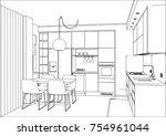 3d vector sketch. modern... | Shutterstock .eps vector #754961044