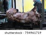 traditionally suckling pig on a ... | Shutterstock . vector #754961719