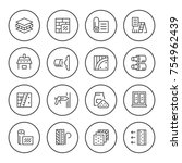 set round line icons of... | Shutterstock . vector #754962439