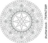 mandala etoiles et roses | Shutterstock .eps vector #754967389