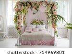 honeymoon suite with canopy bed ... | Shutterstock . vector #754969801