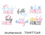 the set of beautiful lettering  ... | Shutterstock .eps vector #754977169