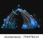 vector fantasy rock  stone with ... | Shutterstock .eps vector #754978114